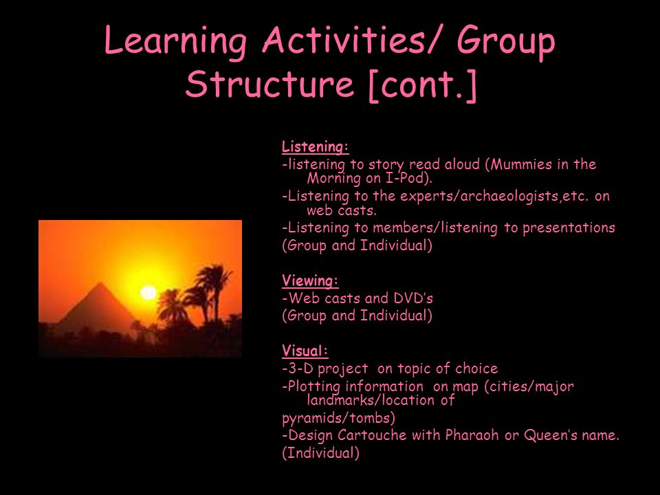 Learning Activities/ Group Structure [cont.]